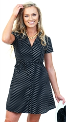 Qed Black / White Polka Dot Button Up Shirt Dress