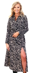 Ax Paris Black Black Printed Button Up Midi Dress