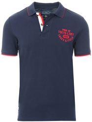 Tokyo Laundry Sky Captain Navy Herstmonceux Cotton Pique Polo Shirt