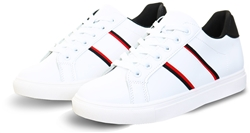 No Doubt White / Red / Black Panel Lace Up Trainer