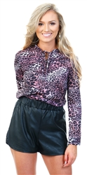 Pink Leopard Print High Neck Tie Top by Cutie London