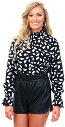 Ax Paris Black Black Patterned High Neck Top
