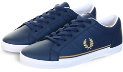 Fred Perry Carbon Blue Baseline Leather Trainer
