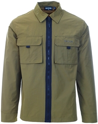 Nicce Olive Zip Up Shacket
