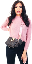 Pink / Mahogany Rose High Neck Knitted Pullover by Only