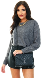 Brave Soul Grunge Grey Knit Scoop Neck Jumper