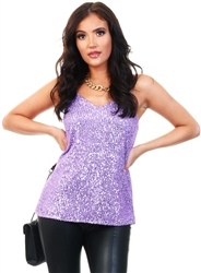 Purple Sequin Top by Cutie London