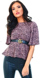 Ax Paris Pink Leopard Print Flared Blouse