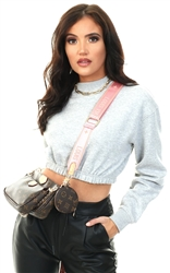 Daisy St Grey Elasticated Cropped Sweater