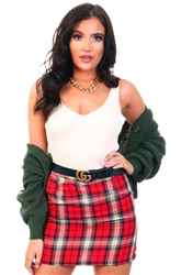 Daisy St Red Mini Skirt In Check