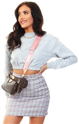 Daisy St Grey / Pink Mini Skirt In Check