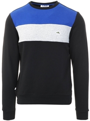 Le Shark Black / Blue Paul Colour Block Cotton Blend Fleece Sweatshirt