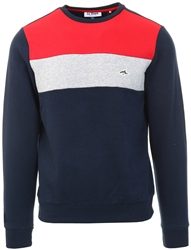 Le Shark Navy Paul Colour Block Cotton Blend Fleece Sweatshirt