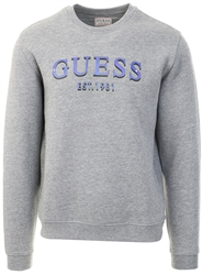Guess Grey Marl Printed Logo Sweatshirt