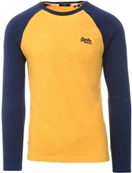 Upstate Gold Marl Baseball Long Sleeve Top by Superdry