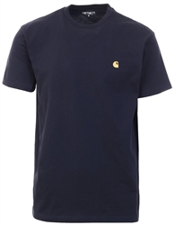 Carhartt Dark Navy / Gold Short Sleeve Chase T-Shirt