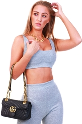 Club L Grey Cropped Rib Crop Top