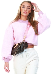 Pink Rib Welt Fleece Jumper by Qed