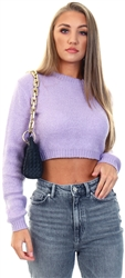 Glamorous Pale Lilac Cropped Jumper