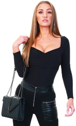 Club L Black Long Sleeve Wrap Bodysuit