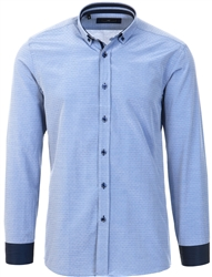 Blue Patterned Button Up Shirt by Daniel Rosso