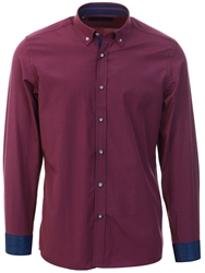 Daniel Rosso Red/Navy Button Up Gingham Shirt