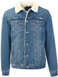 Jack & Jones Blue Denim Shearling Denim Jacket