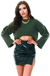 Qed Khaki Cropped Sweater