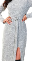 Urban Bliss Grey Jil Belted Grey Midi Dress