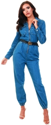 Parisian Denim Blue Zip Front Elasticated Hem Long Sleeve Jumpsuit