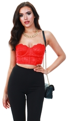 Saint Genies Red Locco Lace Bustier