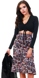 Multi Floral Print Midi Skirt by Missi London