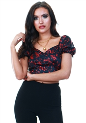 Qed Black / Red Printed Bardot Top