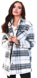 Pieces White / Grey Checked Long Shacket
