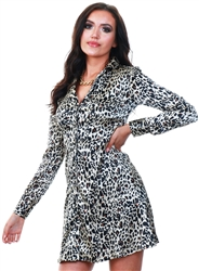 Qed Leopard Print A Line Shirt Dress