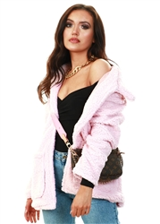 Brave Soul Pale Pink Heavenly Fur Jacket