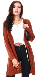 Only Rustic Brown Long Knitted Cardigan