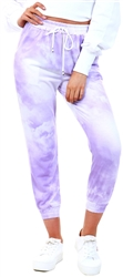 Lilac Tie Dye Draw Cord Jogger Bottoms by Parisian