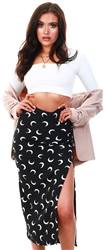 Missi London Black Moon Midi Skirt