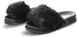 Truffle Black Faux Fur Slider