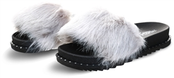 Truffle Grey / Black Faux Fur Slider