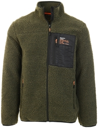 Brave Soul Khaki / Black / Orange Teddy Zip Jacket