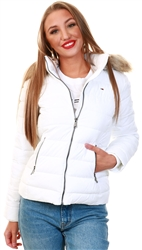 Tommy Jeans White Faux Fur Trimmed Down Fitted Jacket