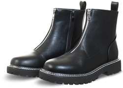 Krush Black Pu Zip Up Boot