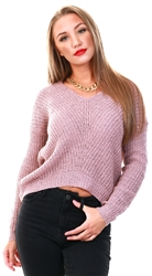 Wood Rose V-Neck Knitted Pullover by Jdy