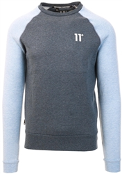 11degrees Deep Water Blue / Baby Blue Marl Contrast Sleeve Sweatshirt