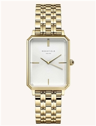 Rosefield The Octagon White Sunray Steel Gold 23*29mm