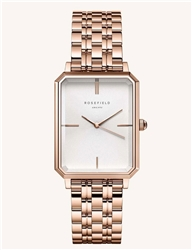 Rosefield The Octagon White Sunray Steel Rose Gold 23*29mm