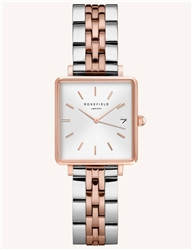 Rosefield The Boxy Xs White Silver Rose Gold Duo 22mm
