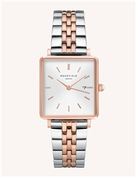 Rosefield The Boxy White Silver Rose Gold Duo 33mm